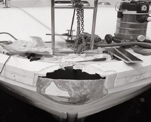 Polyester reparatie romp boot